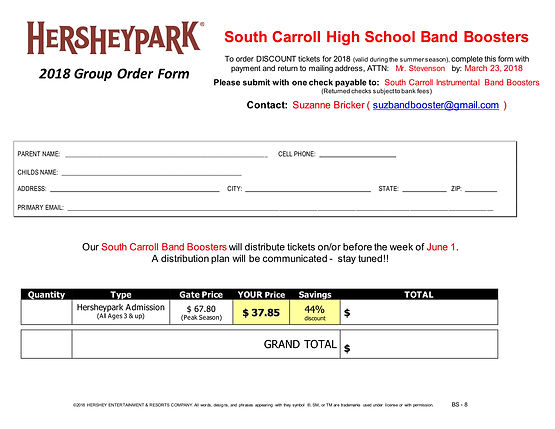 Discount Hersheypark Tickets Home South Carroll High School