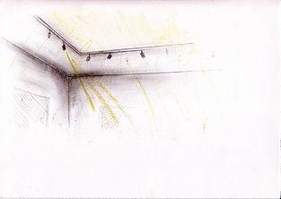 Skizze Zeichnung Museum Beleuhtun Strahler