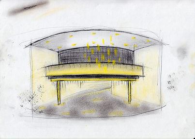 Skizze Teichnung Foyer Eingangshalle Beleuchtung