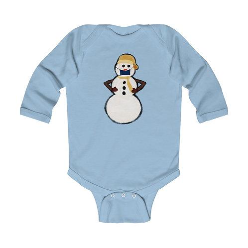Snowman Mask Infant Long Sleeve Bodysuit