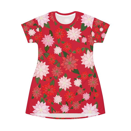 Poinsettia T-Shirt Dress