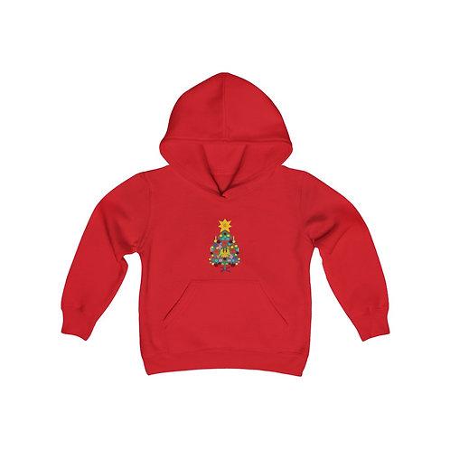 Vintage Christmas Tree Youth Heavy Blend Hooded Sweatshirt