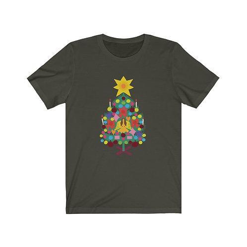 Vintage Christmas Tree Unisex Jersey Short Sleeve Tee
