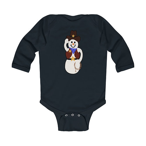 Cowboy Snowman Infant Long Sleeve Bodysuit