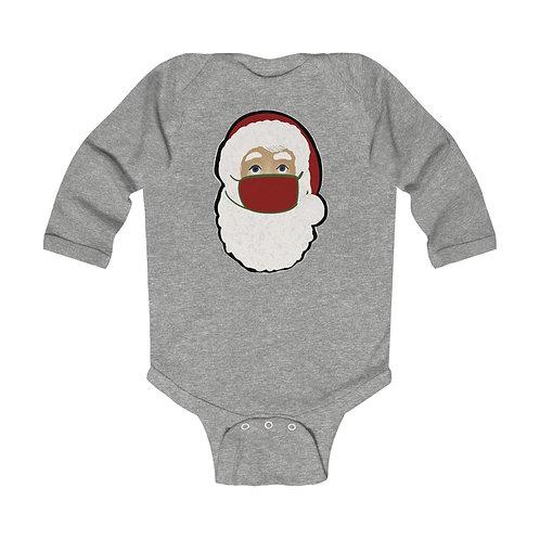 Santa with Mask Infant Long Sleeve Bodysuit