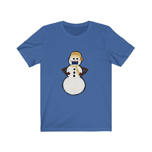 Snowman with Mask Unisex Jersey Short Sleeve Tee