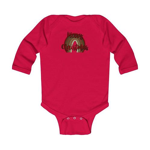 Merry Christmas Rainbow Infant Long Sleeve Bodysuit