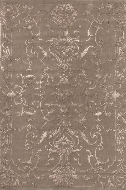 tapis design soyeux marron en laine et viscose - Sydney S017-55- Face produit
