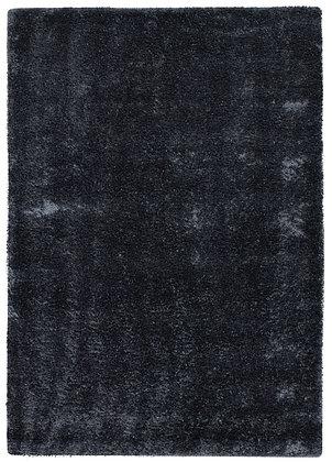 tapis noir unis en laine et viscose - Vesuvio 5520-57 - face produit