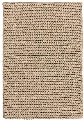 tapis marron beige tressé en laine - Highland 803-632 - face produit