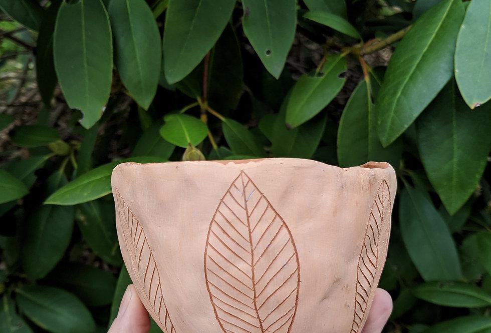 Pink & Terracotta Table Planter w/ Handcarved Leaf Design