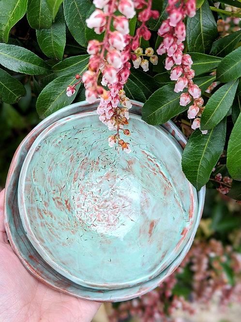 Turquoise Glazed, Hand-Carved & Botanical Printed Terra Nesting Bowl (Set of 2)