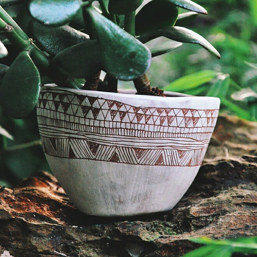 #etsy #planter #earthenware #sgraffito #ceramic #pottery #jade #plant #vscocam