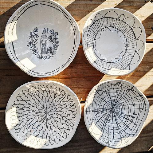 - GRAPHITE - illustrated bowl (set of 4)