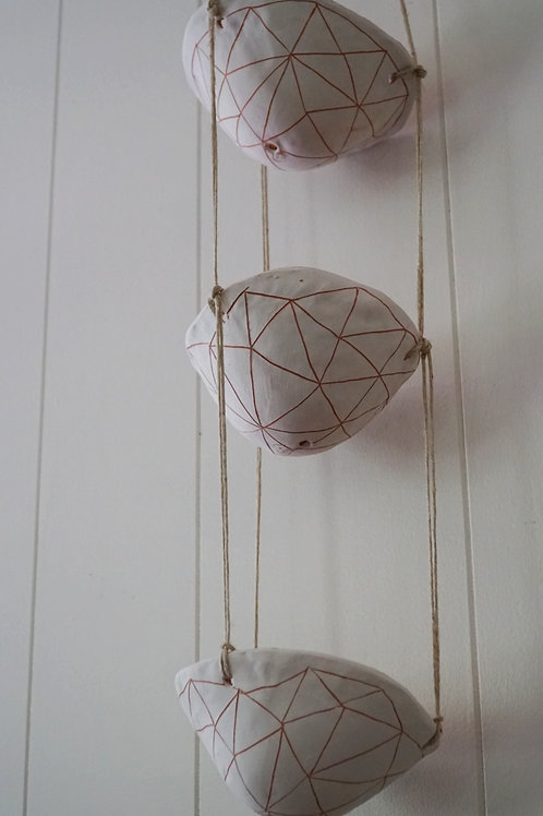 - GEOTRIANGLE - White & Terracotta 3-Tiered Hanging Planter