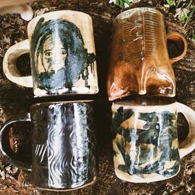 #mugs #pottery #handbuilt #ceramics #halflighthoney #wnc
