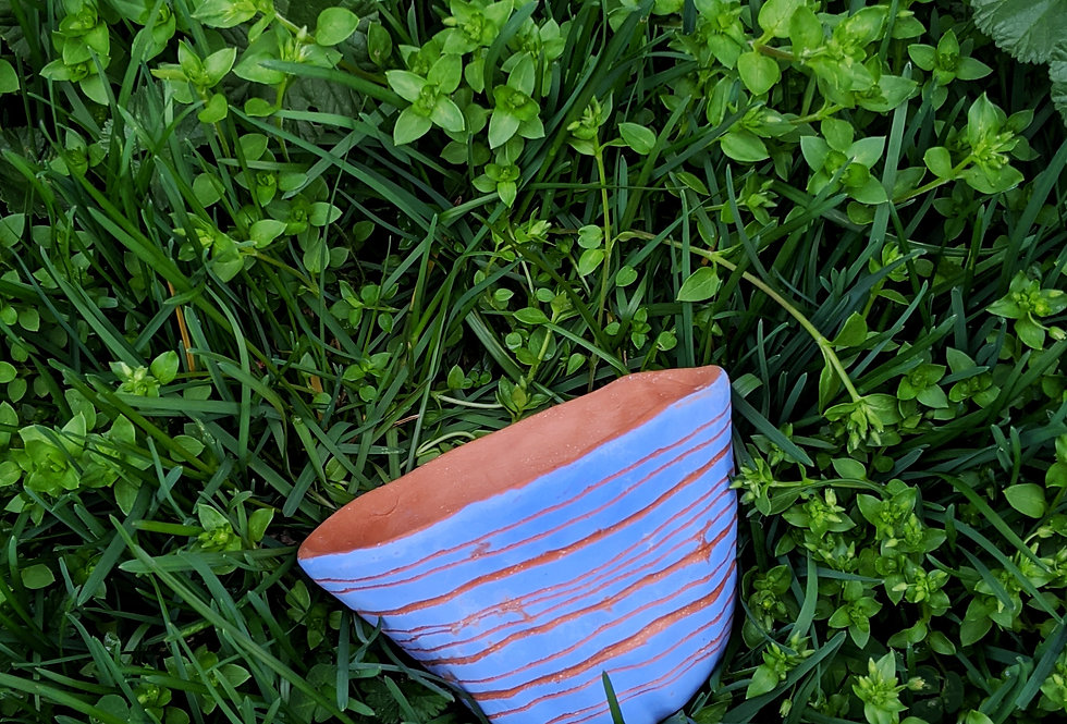 Bright Blue & Red Earthenware Table Planter w/ Horizon Variation Design