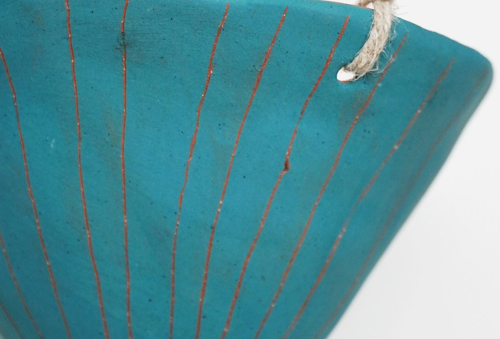 "Teal Green & Terracotta Hanging Planter w/ ""Vertical Line"" Design"