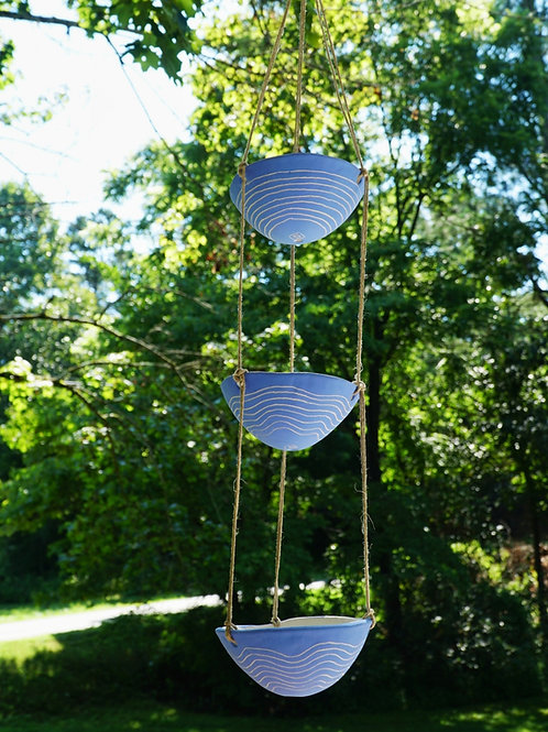 RESERVED - WAVY - Electric Blue Earthenware 3-Tiered Hanging Planter