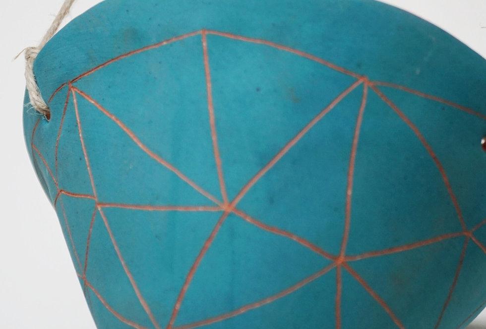 "Teal Green & Terracotta Hanging Planter w/ ""Geo Triangle"" Design"