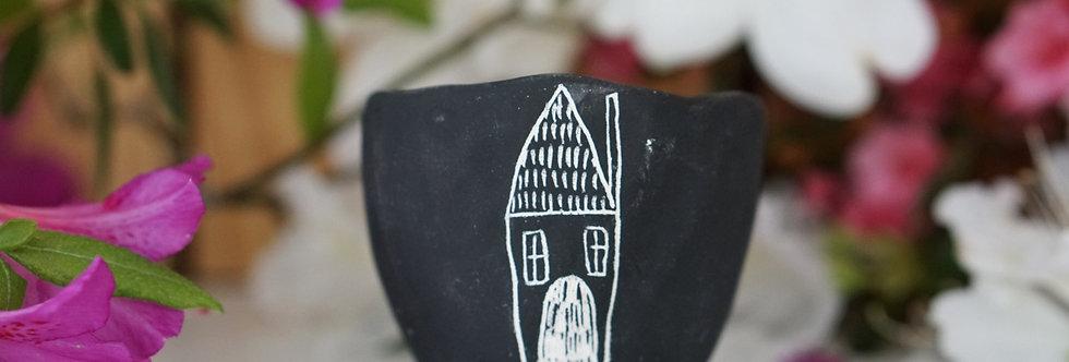 "Black & White Earthenware ""Folk Home"" Micro Planter"