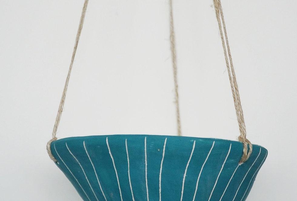 "Teal Green & White Hanging Planter w/ ""Vertical Line"" Design"