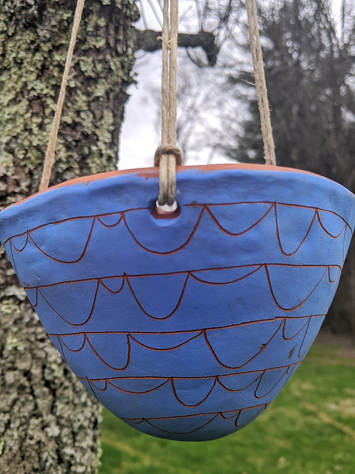 Bright Blue & Red Earthenware Handcarved Hanging Planter w/ Arc Garland Design