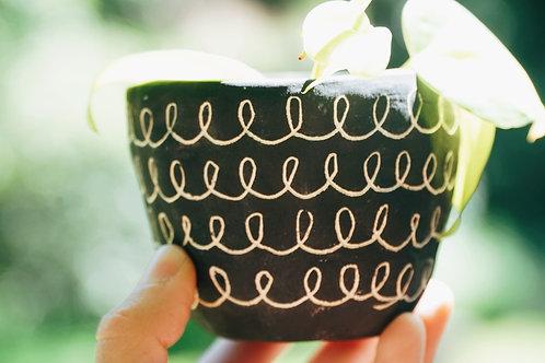 CURLY - black and white mini planter