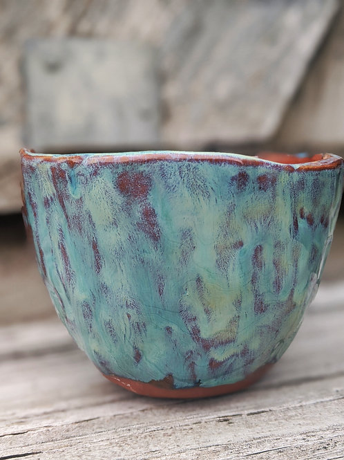 Turquoise Hand-Pinched Terracotta Table Planter