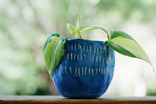 DASH - blue glazed mini planter