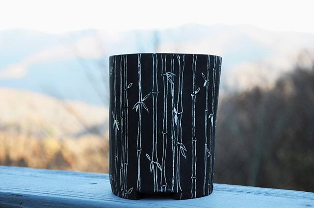 Bamboo sgraffito footed #planter🍃 This design is now available in the shop with options for tray and interior glaze.jpg
