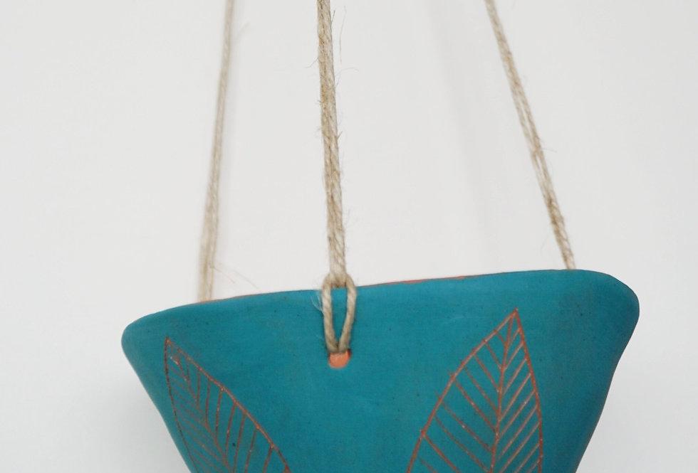 """Teal Green & Terracotta Hanging Planter w/ """"Leaf"""" Design"""