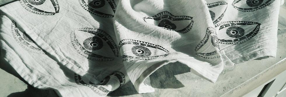 - EYE - block printed tea towel