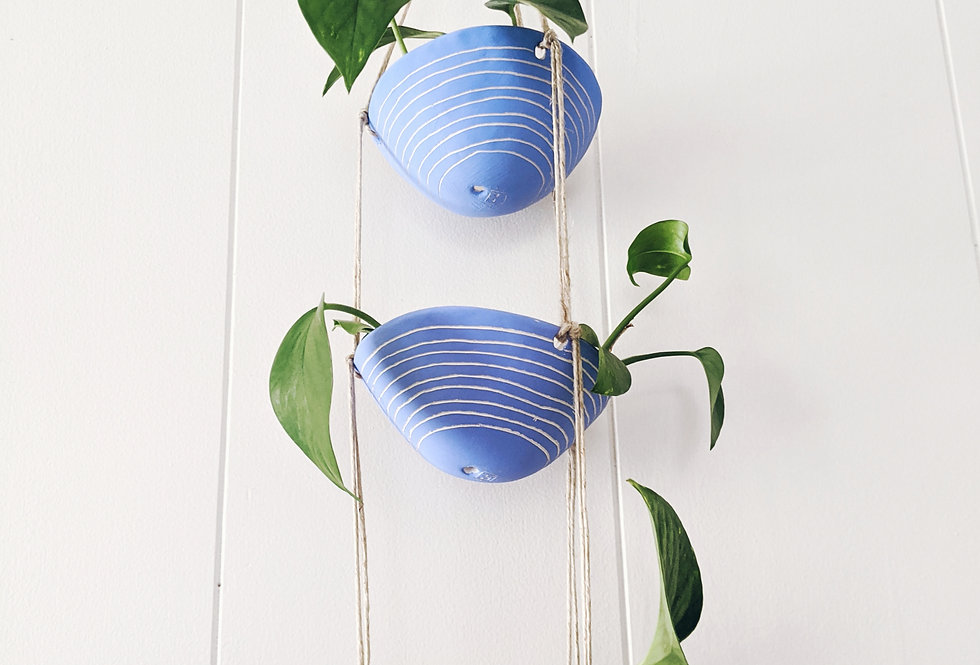 Electric Blue & White Earthenware 3-Tiered Hanging Planter