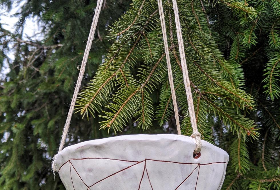 Geotriangle Terracotta & White Earthenware Sgraffito Hanging Planter