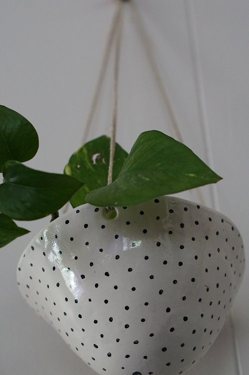 Black & White Hand-painted Polka Dot Hanging Planter