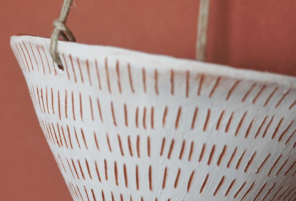 "White & Terracotta Hanging Planter w/ ""Dash"" Design"