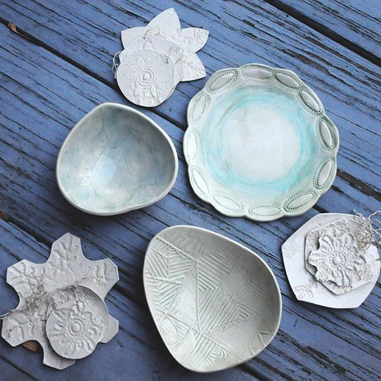 Ornament sets and hand decorated gourd bowls and one scalloped dish stamped with a vintage button, just added to the shop.jpg