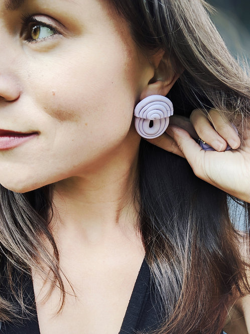 Lilac Coil-Built Polymer Clay Earring