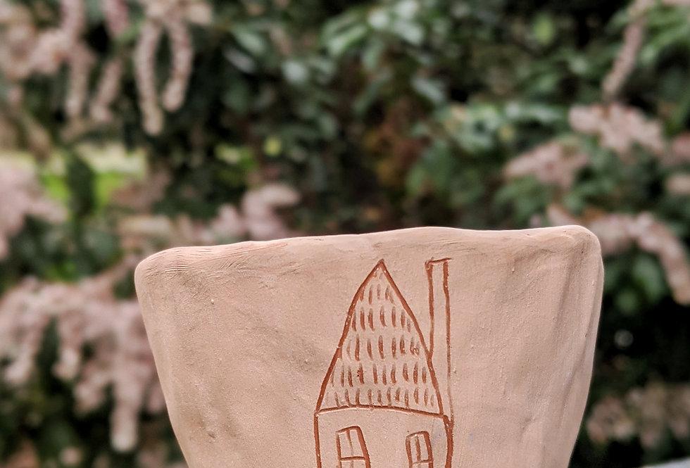 Pink & Red Earthenware Mini Planter w/ Folk Home Design