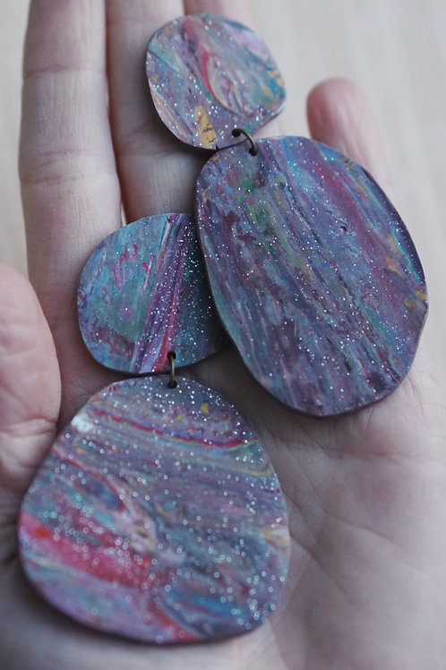 - GALAXY - polymer clay earrings