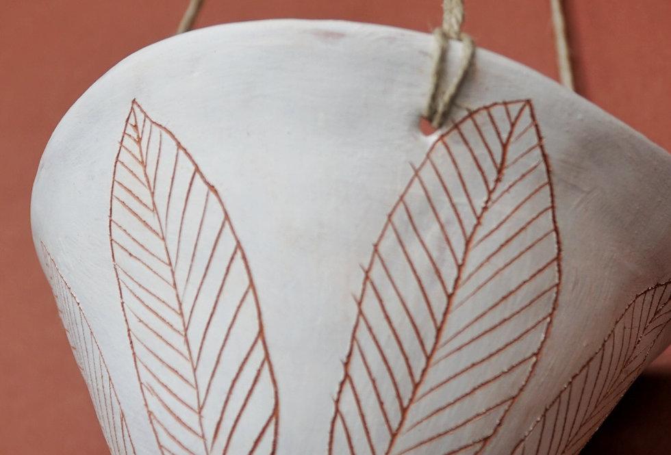 "White & Terracotta Hanging Planter w/ ""Leaf"" Design"