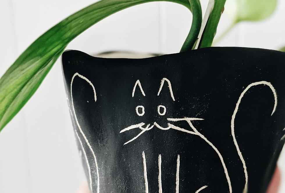 Black & White Earthenware Mini Planter w/ Kitty Illustration