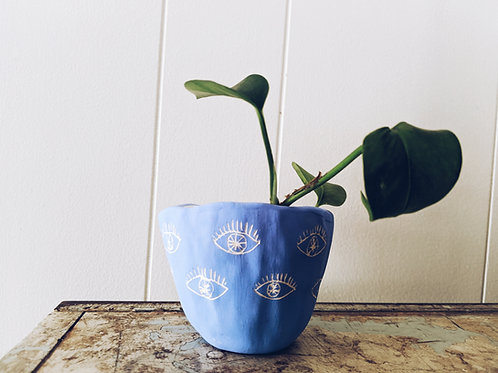 Bright Blue & White Earthenware Mini Planter w/ Eye Pattern