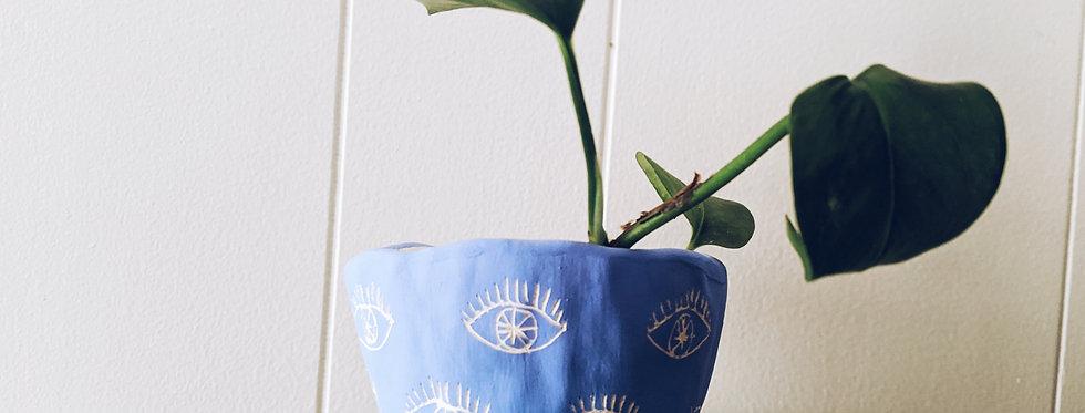 Bright Blue & White Earthenware Mini Planter w/ Eye Pattern