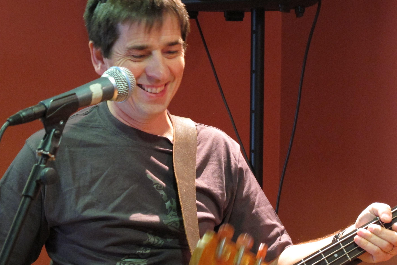 He's got his bass... he's happy!