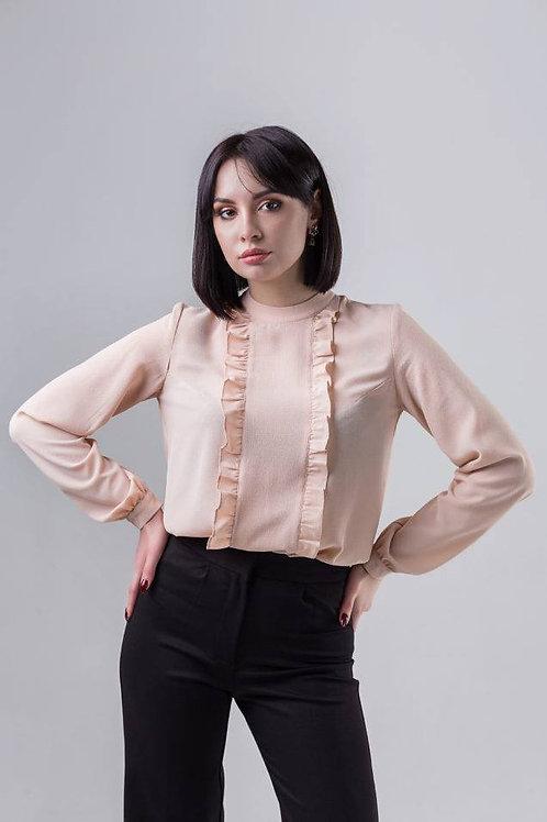 Beige long sleeve blouse