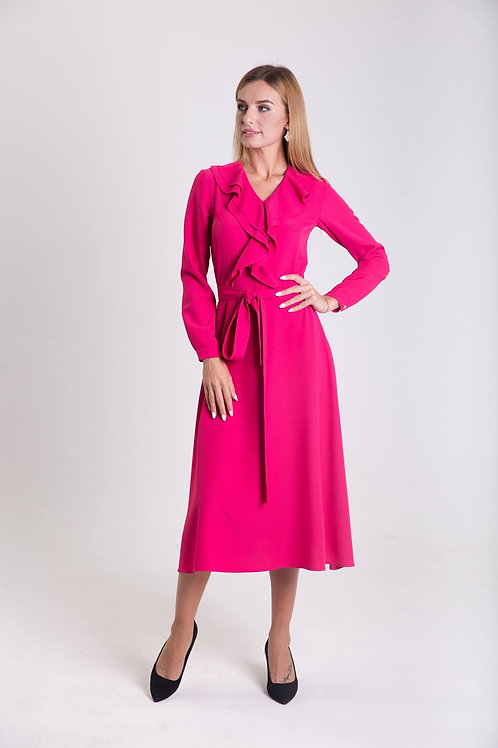 Fuchsia pink dress with valance