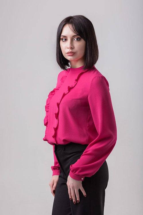 Fuchsia pink long sleeve blouse