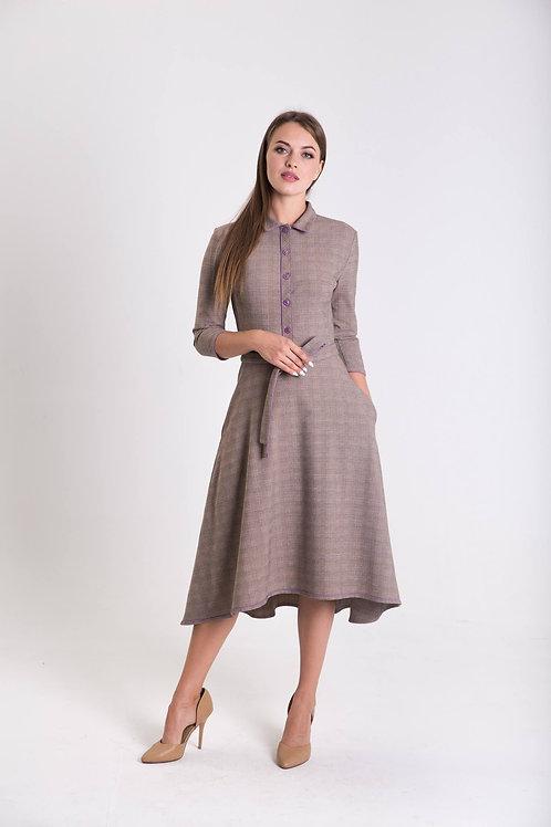 Purple plaid midi dress